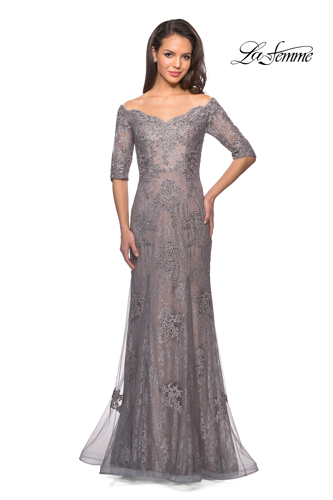 9235a7917f4 Picture of  Long Prom Gown with Scattered Lace Overlay