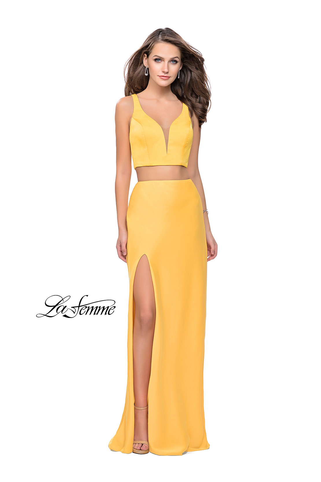 Yellow Prom Dress Two Piece by La Femme Style 25599