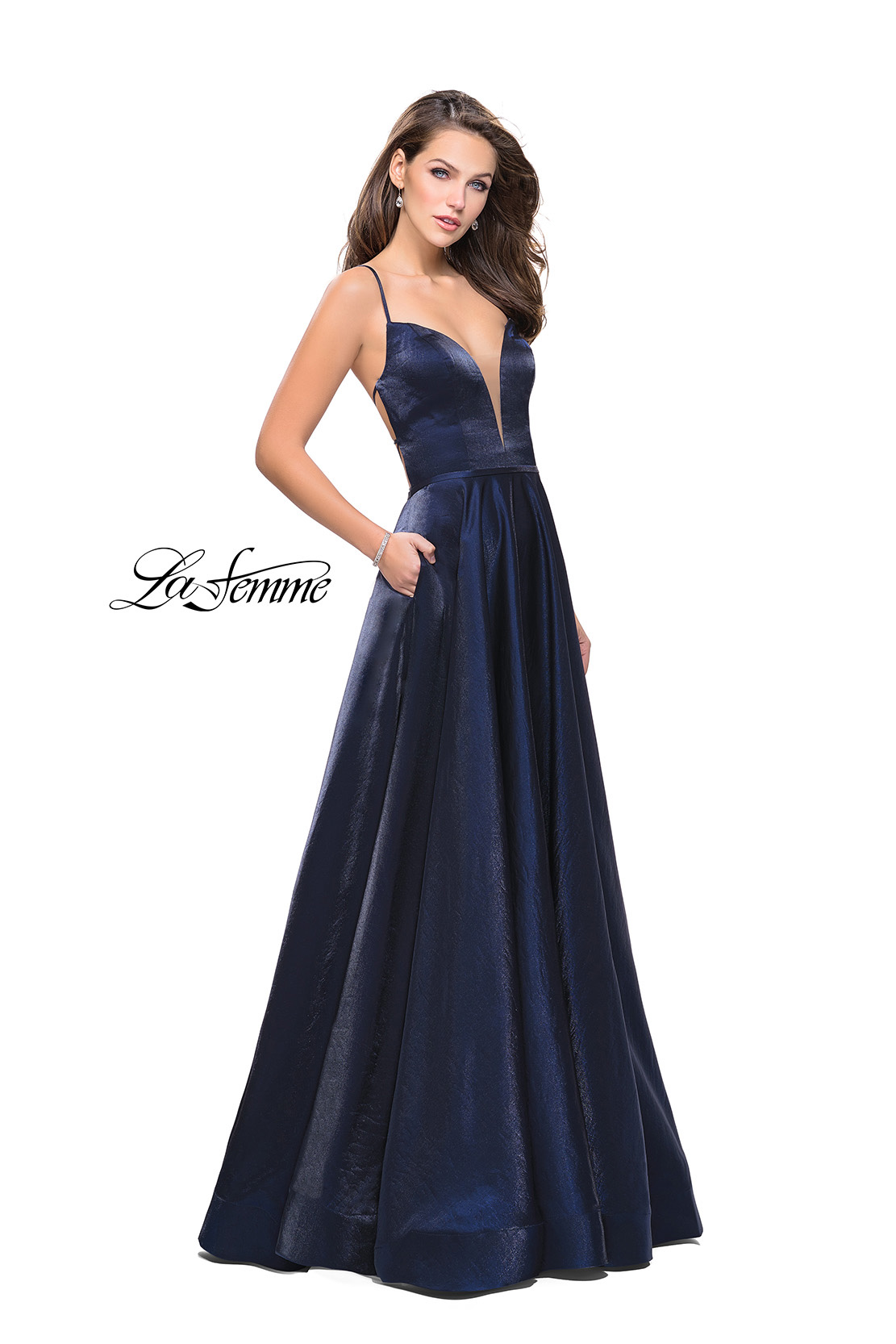 Navy Prom Dress with Shiny Satin Fabric and Deep V by La Femme