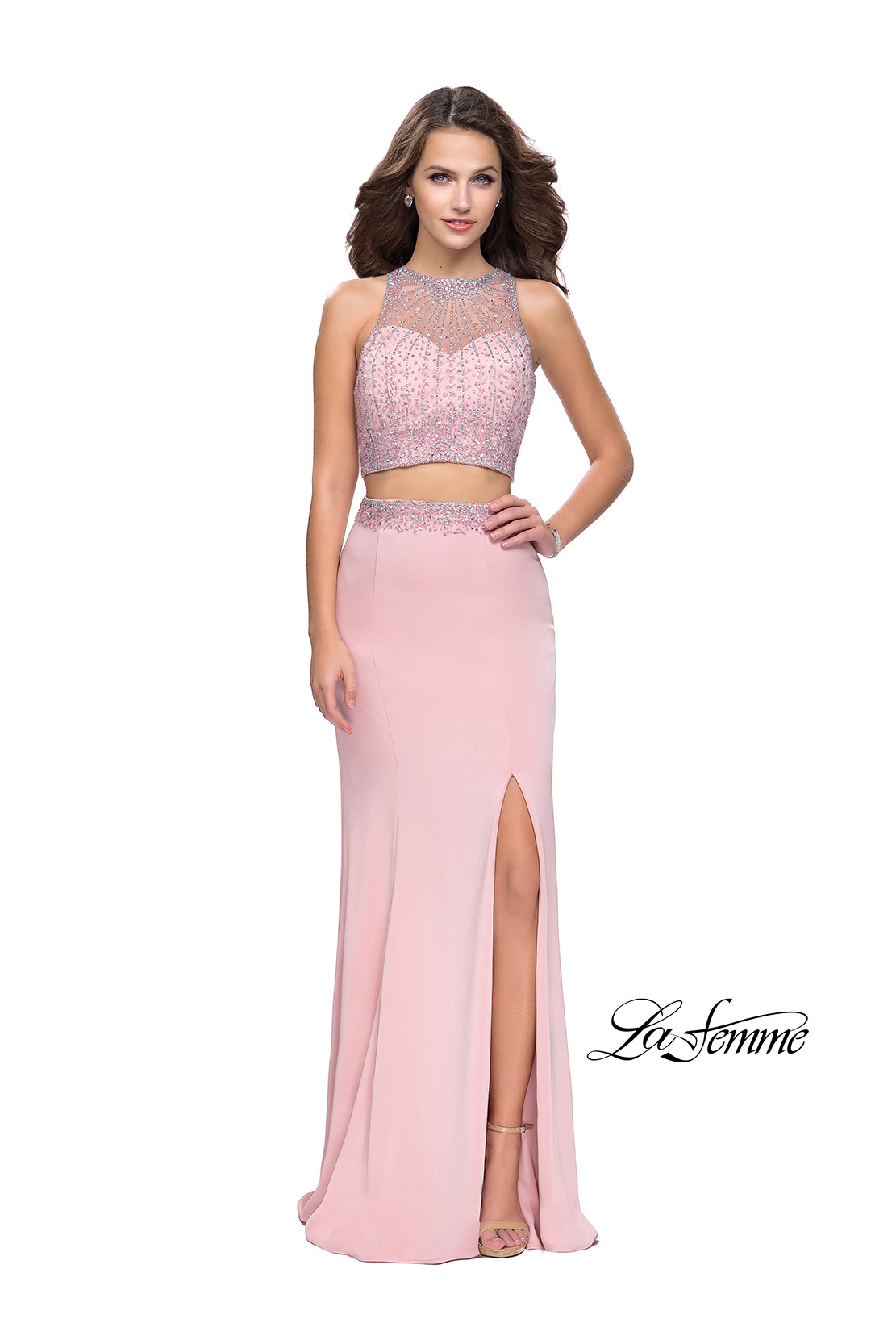 Two Piece Blush Prom Dress with Beaded Top by La Femme