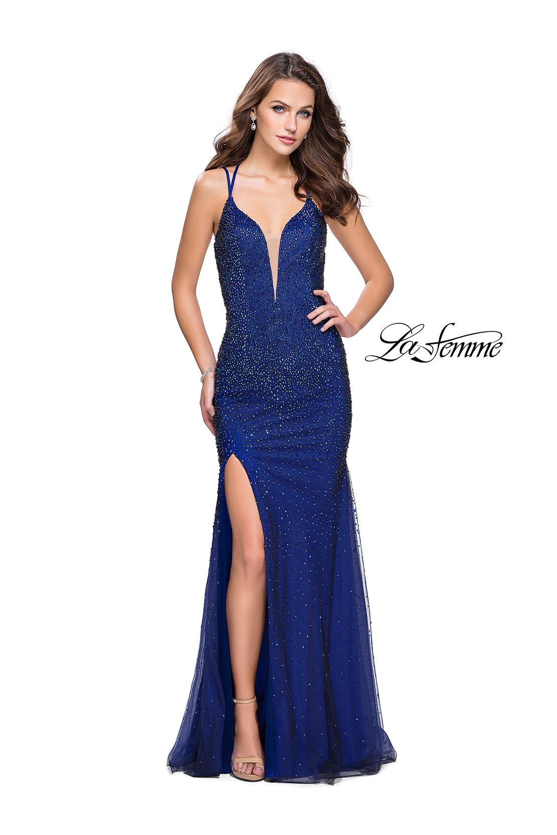Black and Blue Prom Dress with Rhinestones by La Femme 26228