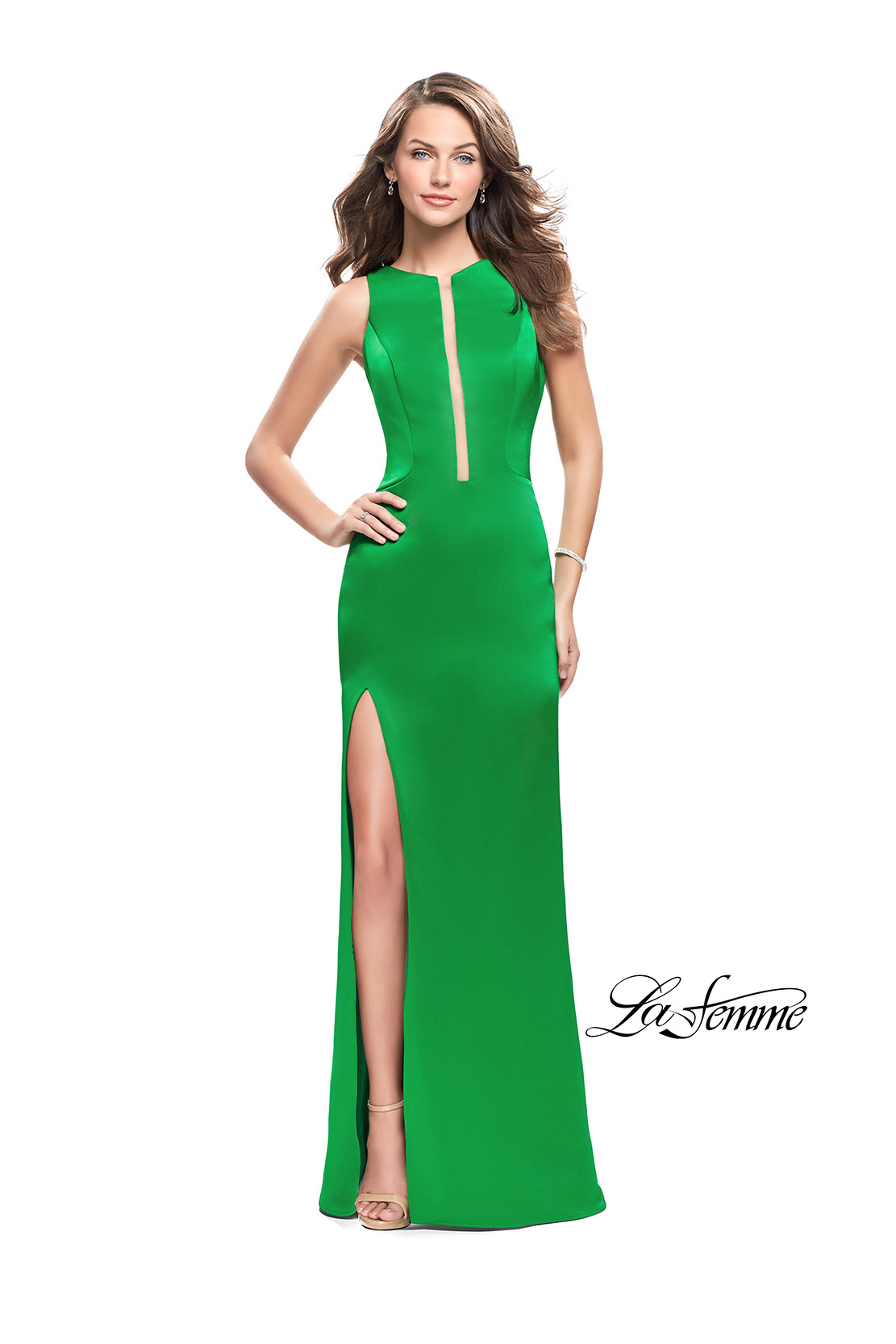 Green Prom Dress with Open Strappy Back by La Femme Style 26235