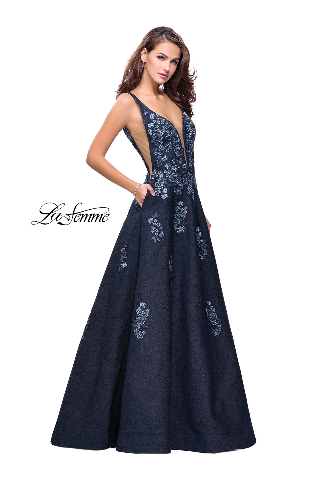 Denim Prom Dress with Floral Details and A Line Skirt
