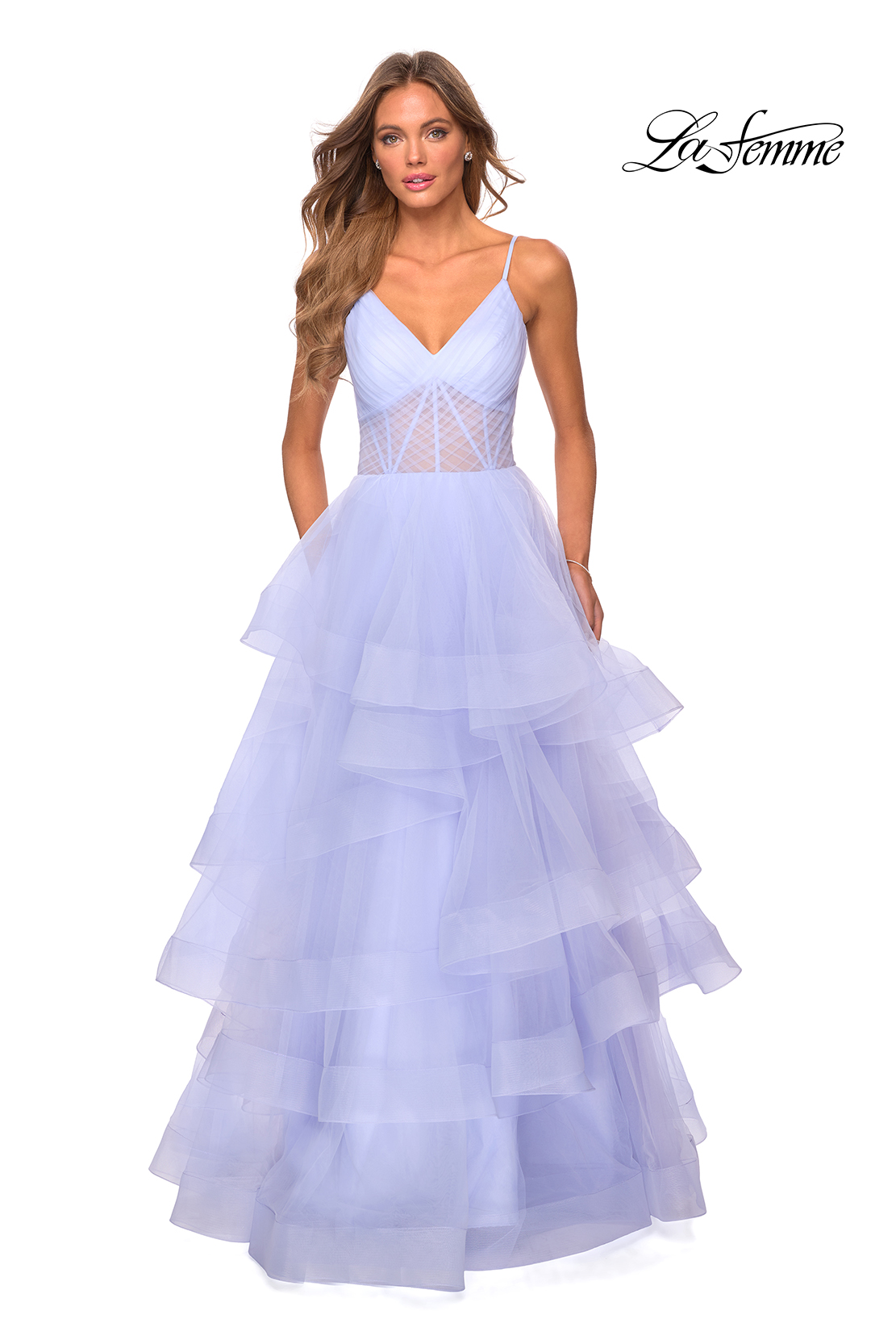 Ruffle Prom Dress in Purple La Femme Style 28641