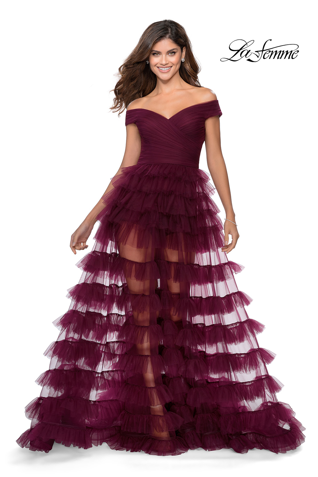 Ruffle Prom Dress with Shorts La Femme Style 28804