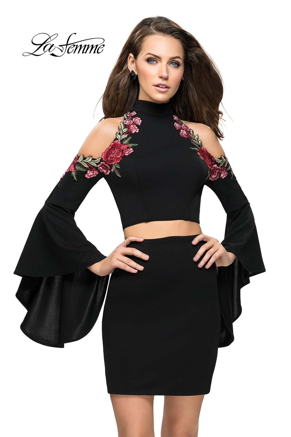 Two Piece Black Homecoming Dress with Floral Embroidery
