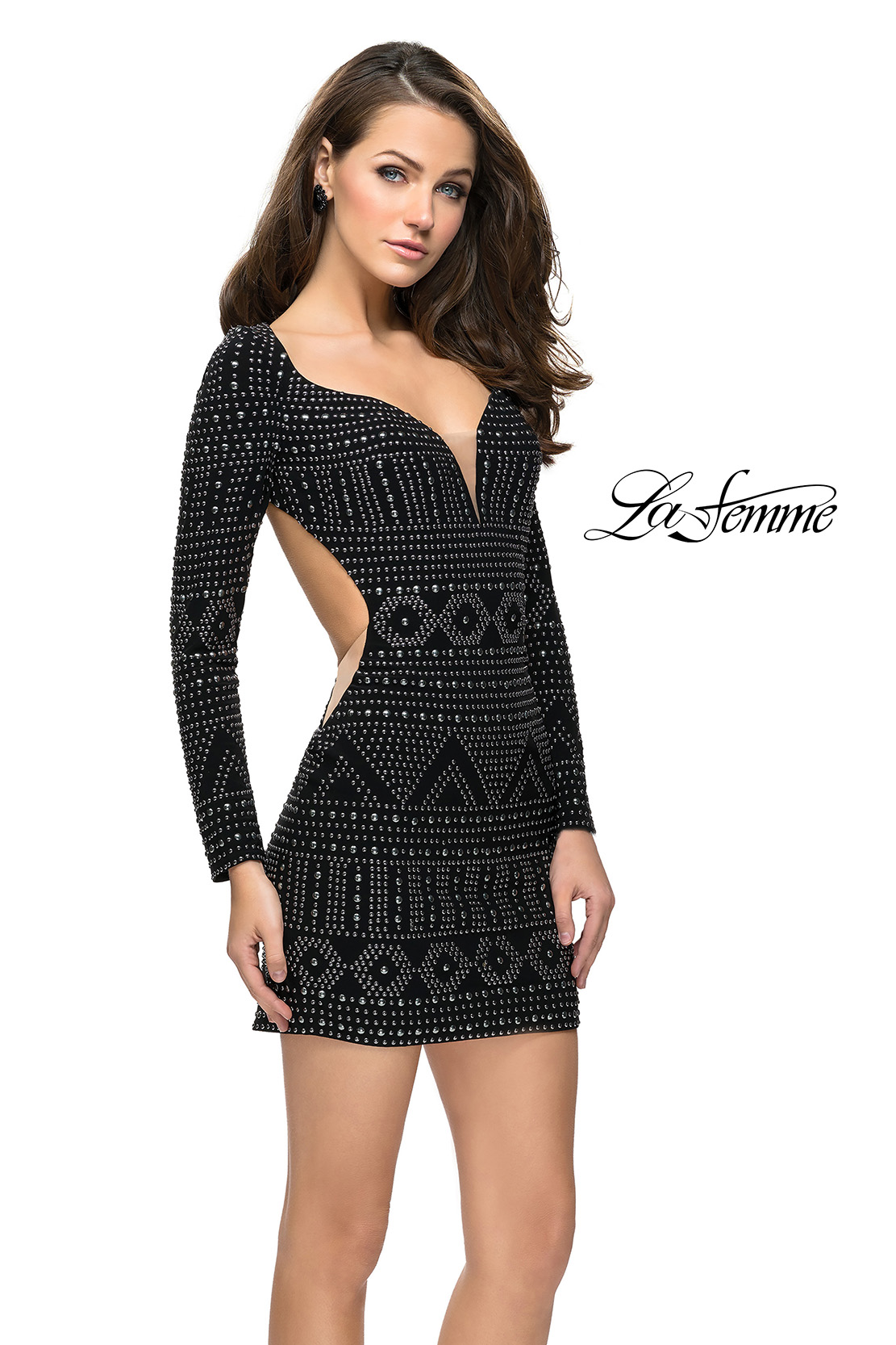 Long Sleeve Black Homecoming Dress with Stud Design