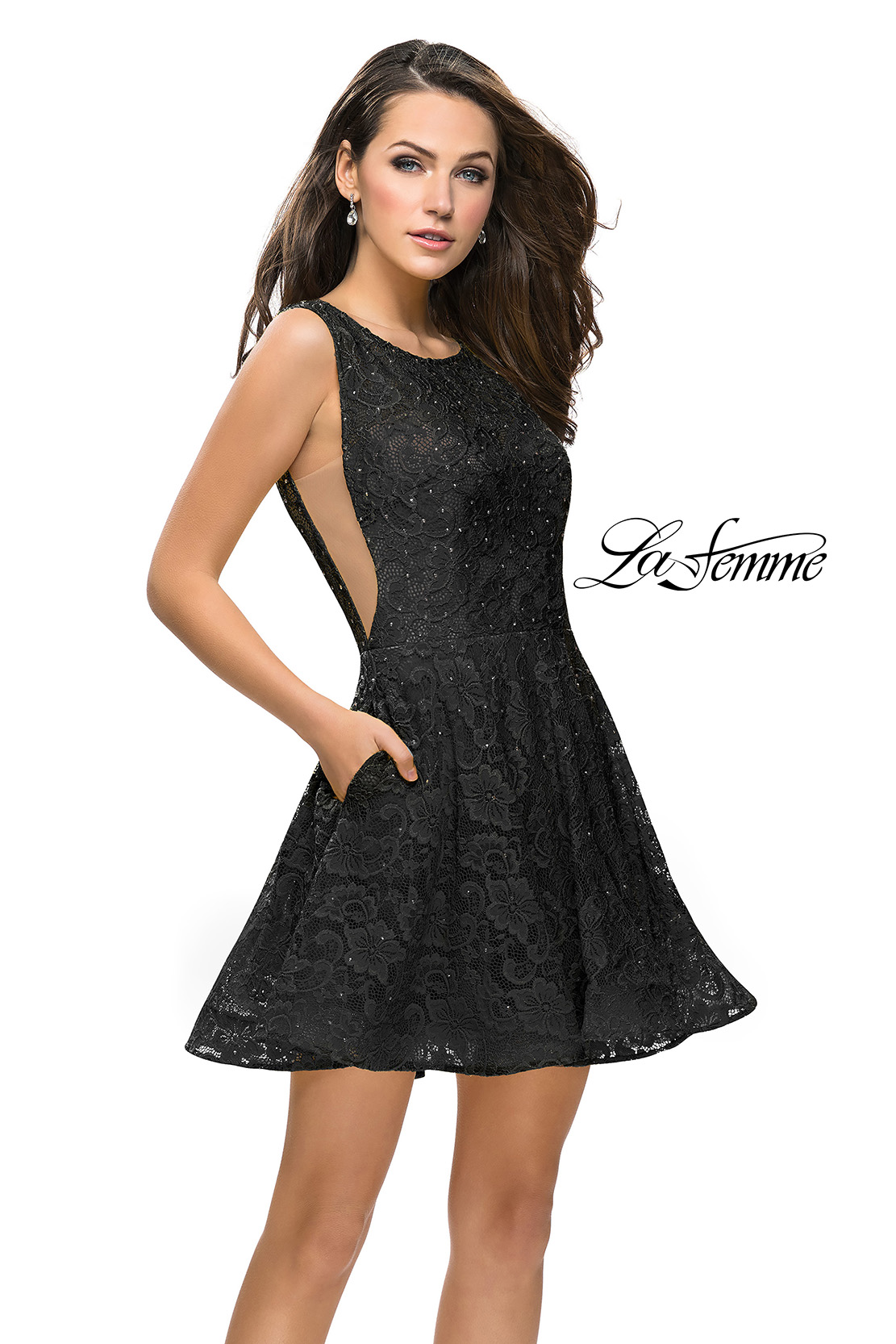 Black Lace Homecoming Dress with Pockets by La Femme