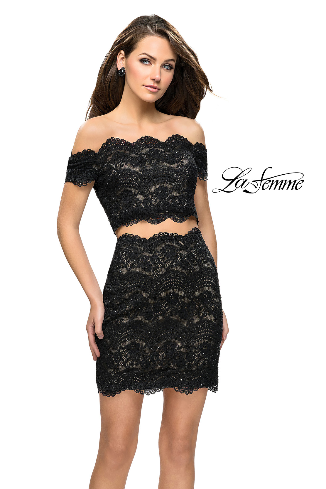 Short Lace Two Piece Homecoming Dress by La Femme