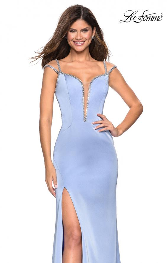Jersey Prom Dress in Cloud Blue with Rhinestone Bead Lines