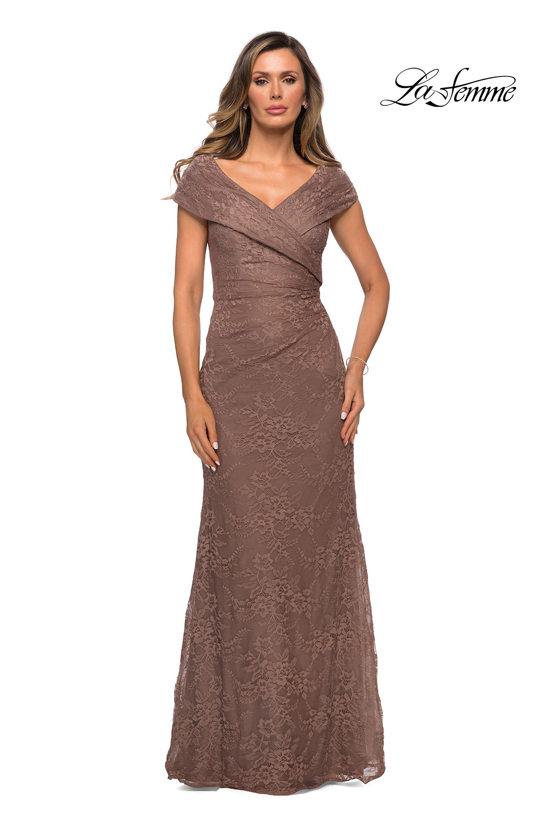 Cocoa Lace Mother of the Bride Dress Style 27982