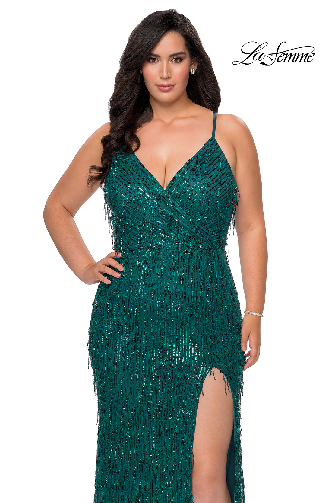Emerald Plus Size Dress in Fringe Sequin