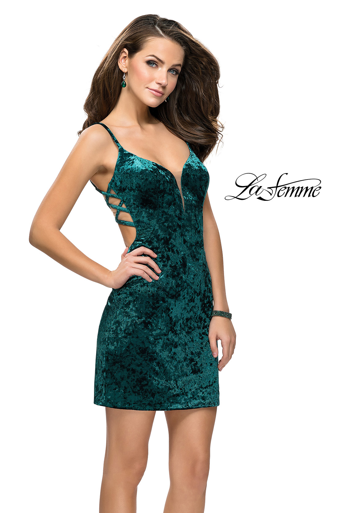 Green Homecoming Dress by La Femme with Velvet and Rhinestones