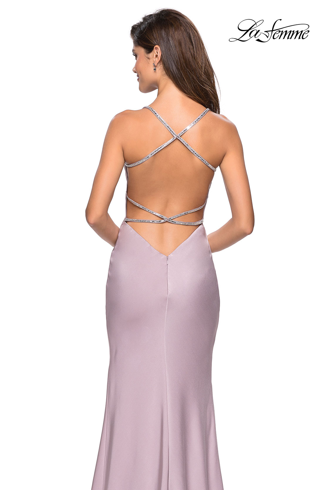 mauve dress with rhinestone straps and open back