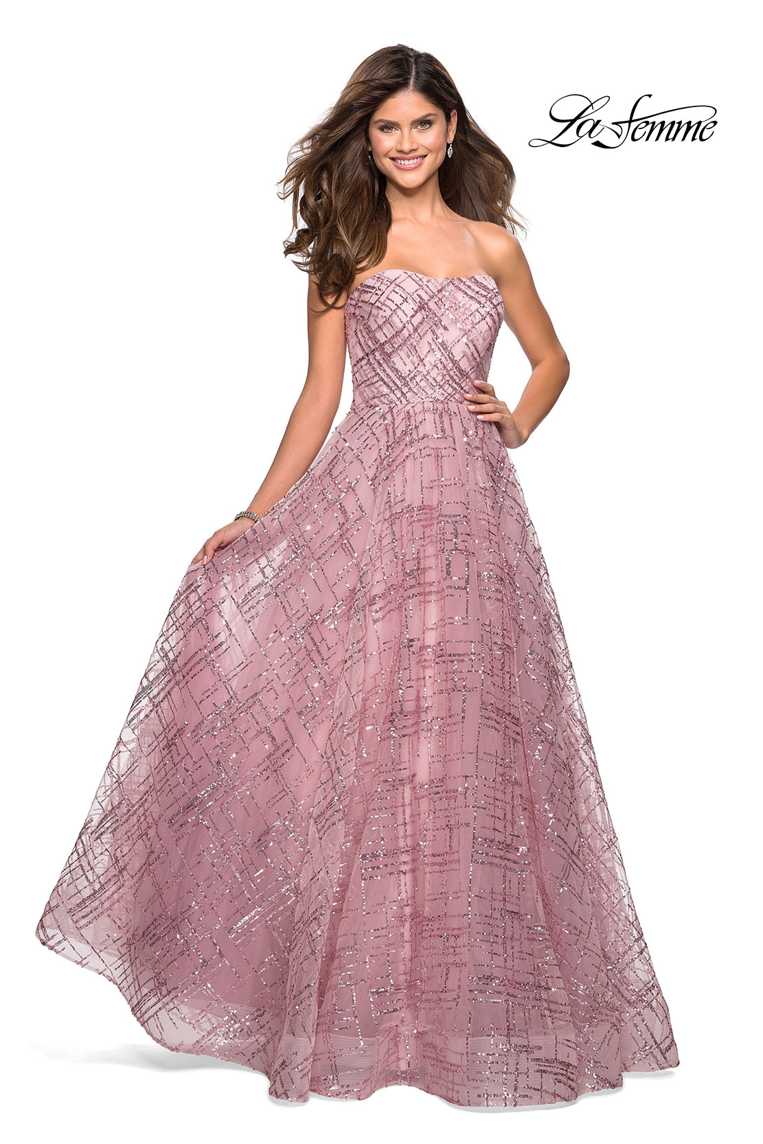 Mauve sequin prom dress with sweetheart neckline