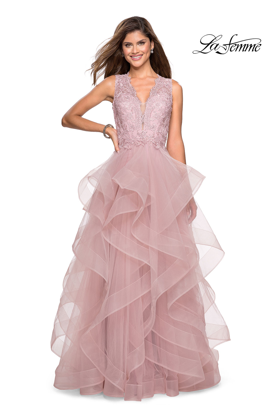 Mauve ball gown with tulle skirt and lace