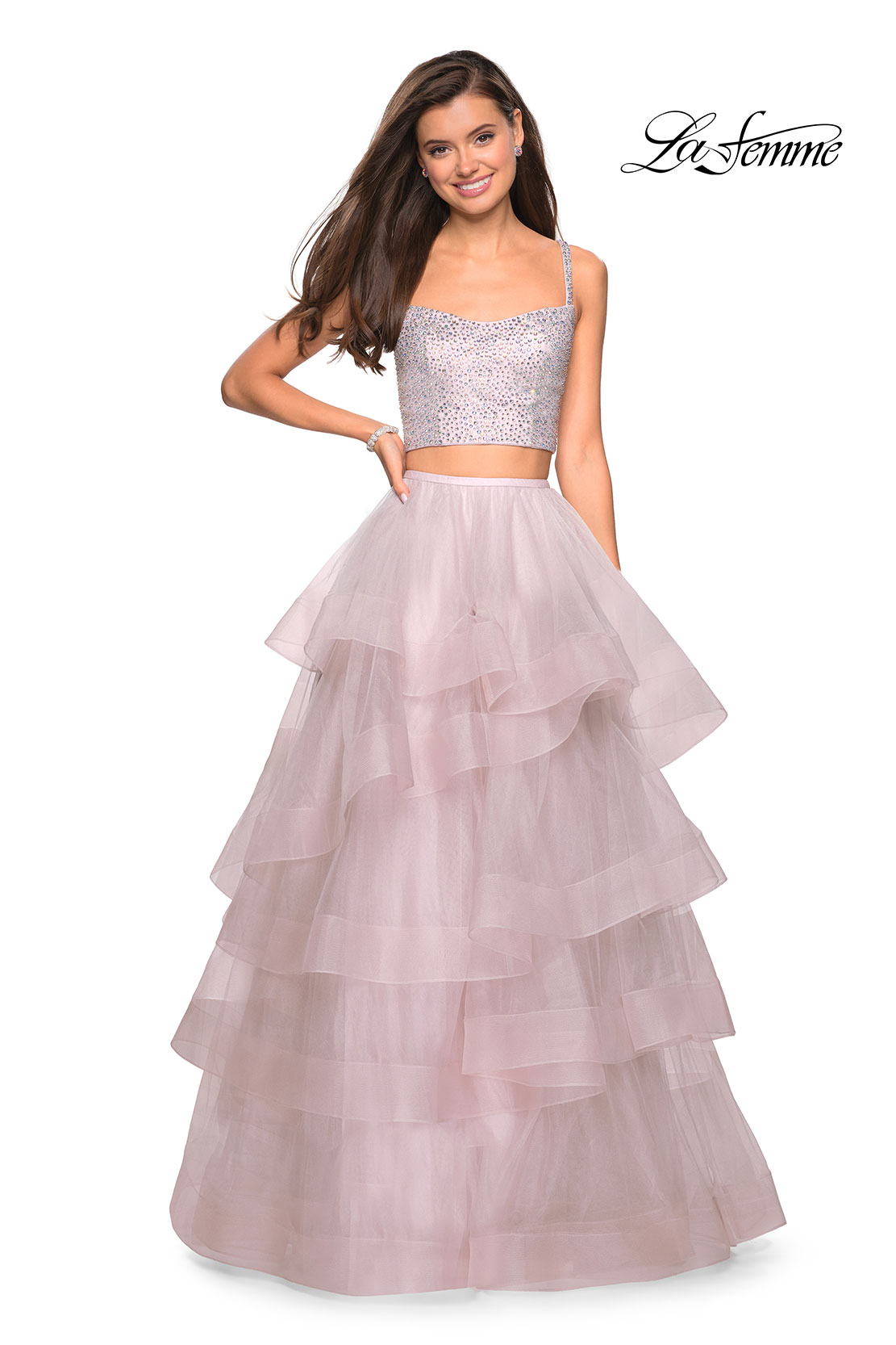 Tulle skirt mauve prom dress two piece with rhinestones