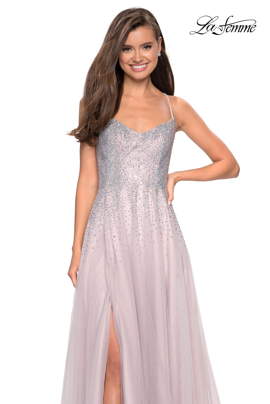 Mauve prom dress with rhinestone bodice