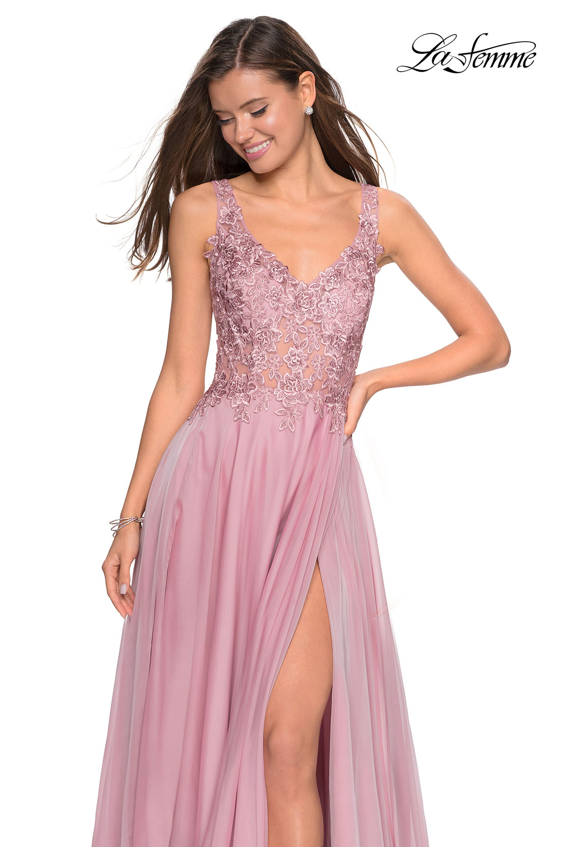 Mauve chiffon prom dress with lace top by La Femme 27751