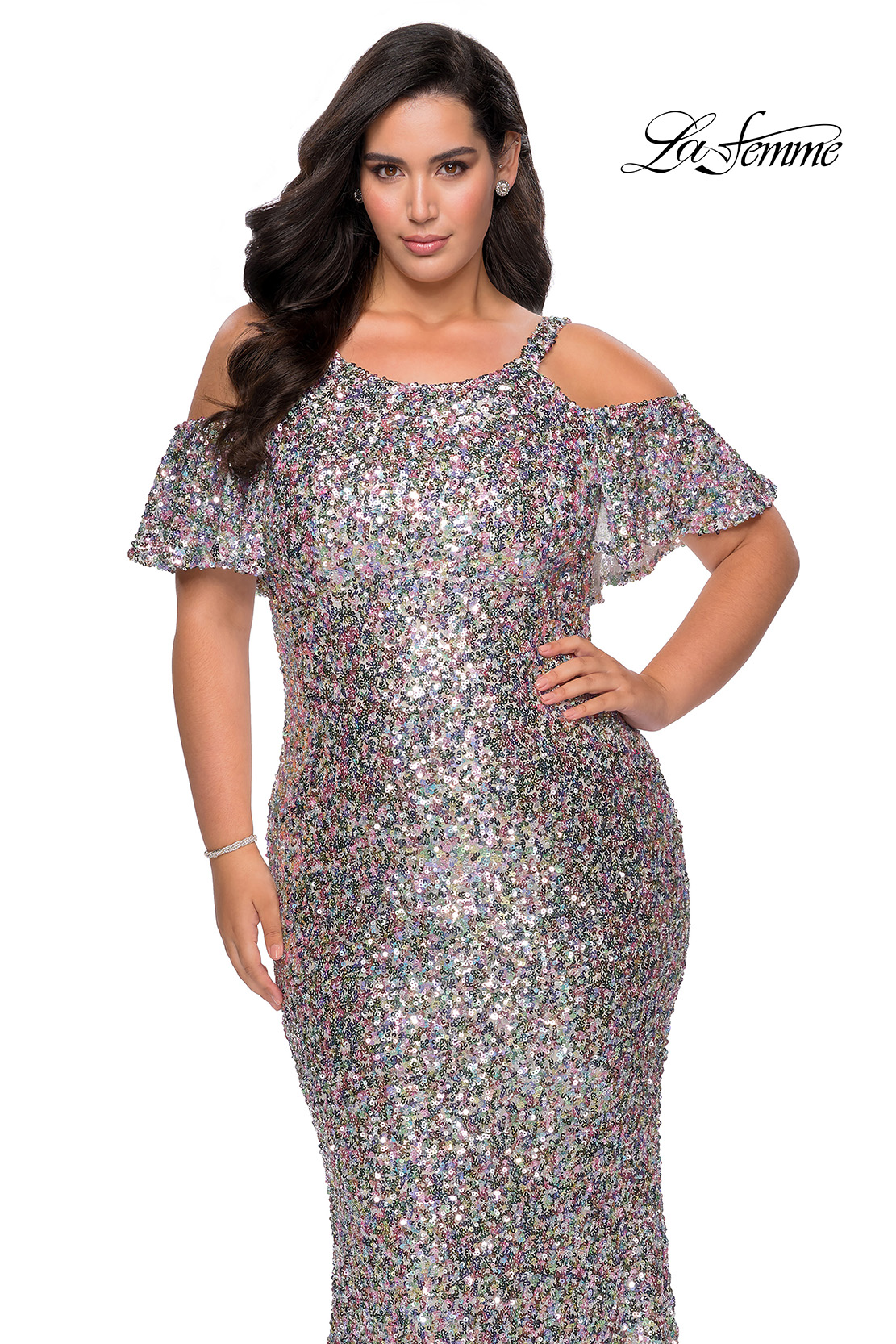 Silver Sequin Plus Size Dress with Cold Shoulder