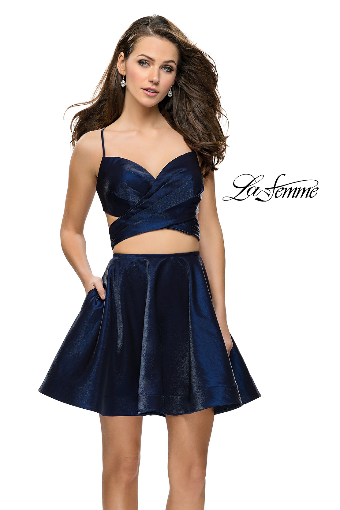 Navy two piece homecoming dress with shiny fabric and pockets