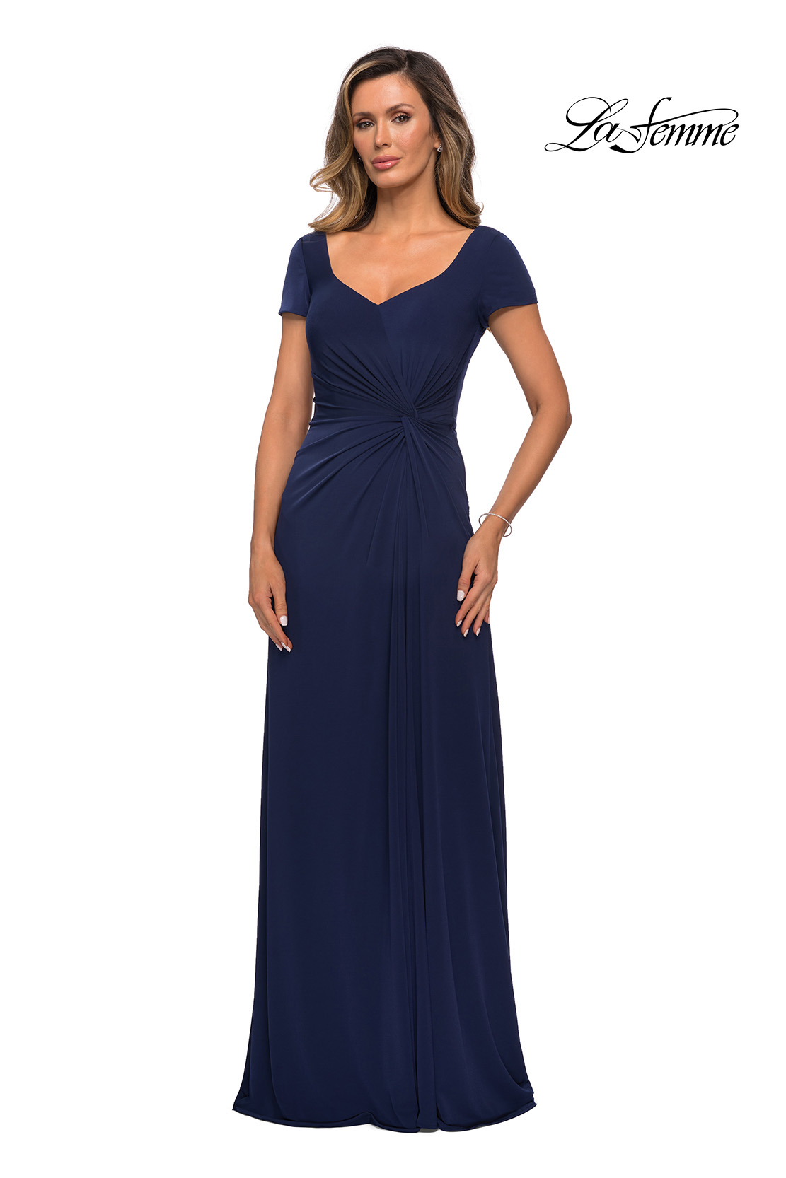 Navy Jersey Mother of the Bride Dress Style 27872