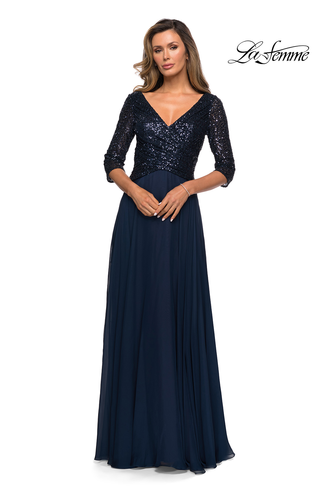 Navy Sequin and Chiffon Mother of the Bride Dress Style 27998