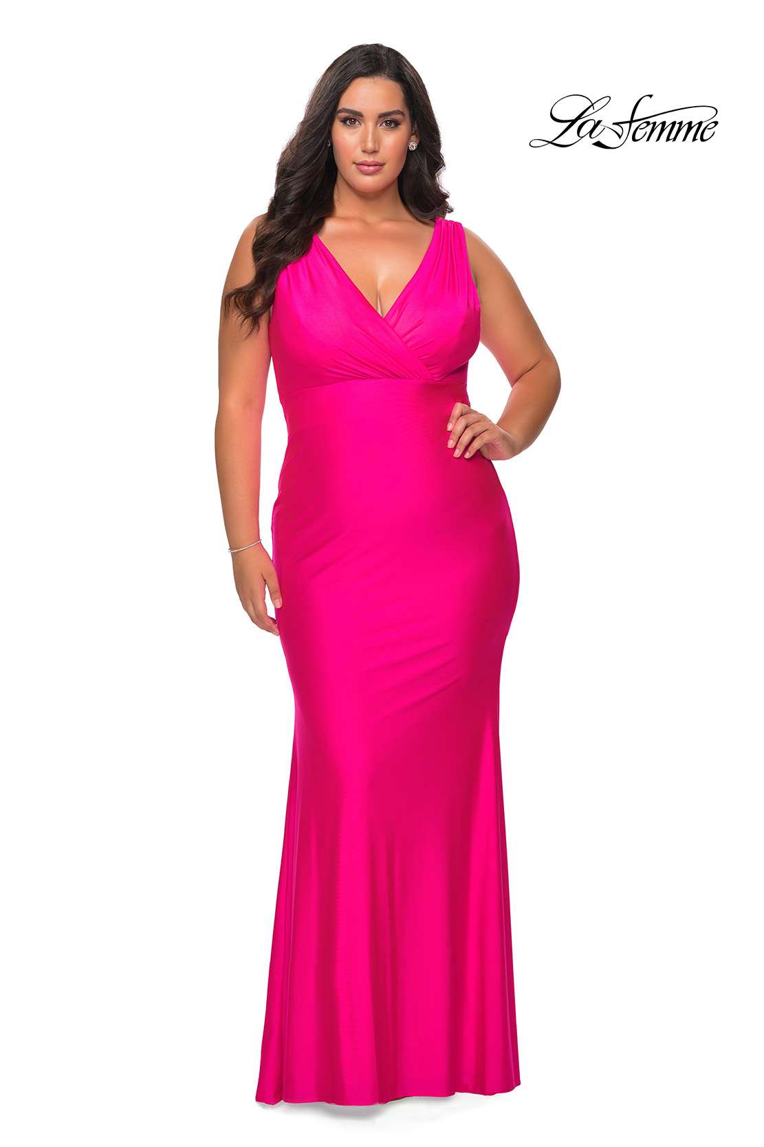 Neon Pink Fitted Plus Size Dress