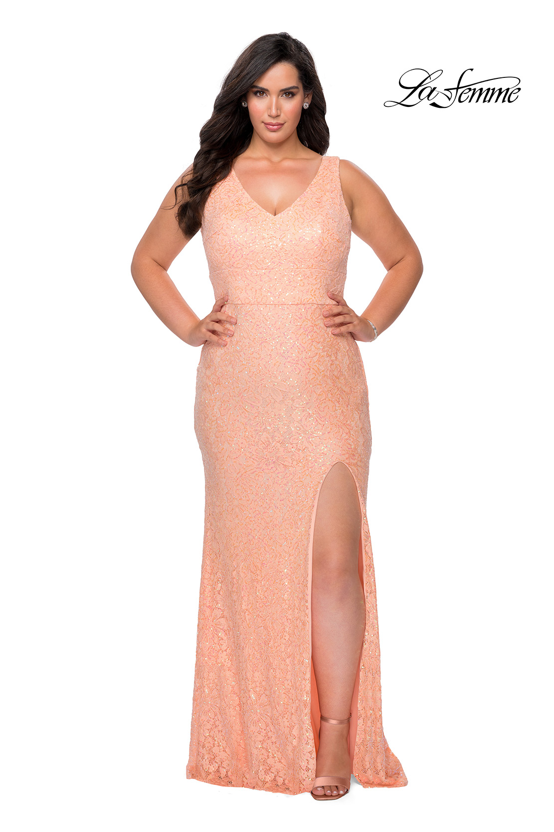 Peach Sequin Lace Plus Size Dress with V Neck