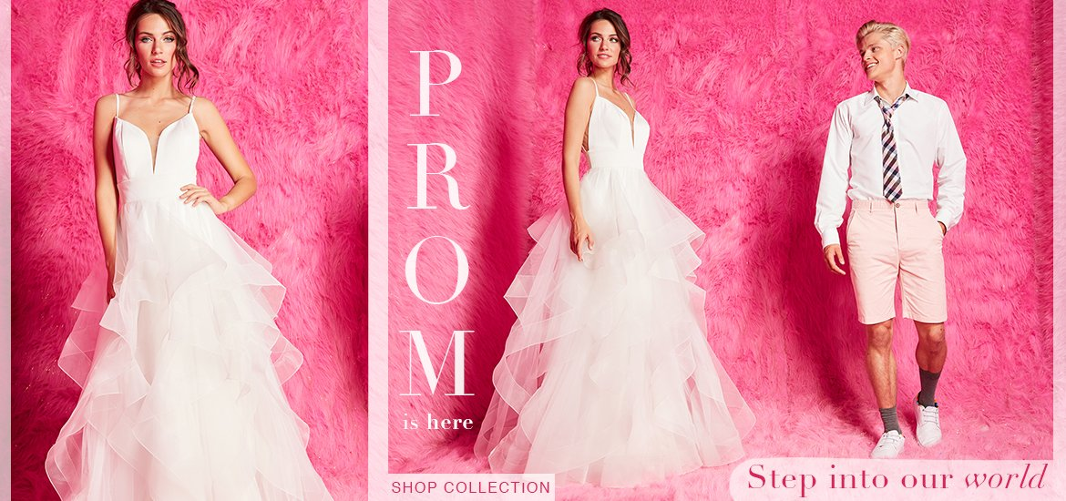 Pink prom dress banner white ball gown