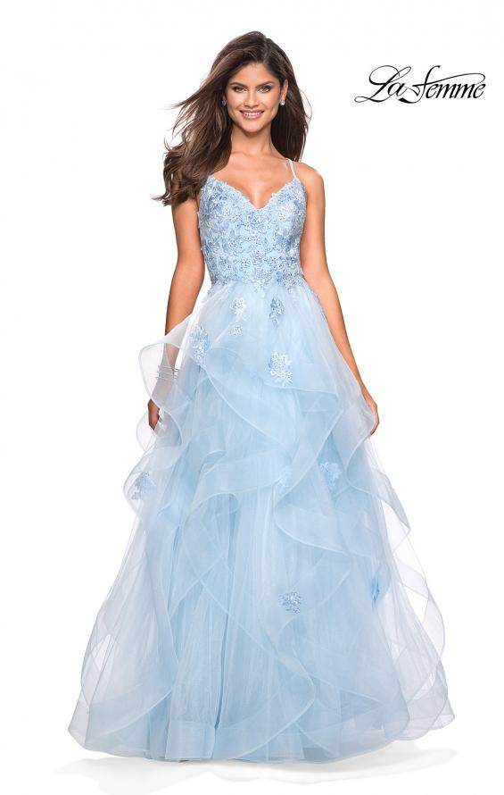 Tiered Tulle Ball Gown Prom Dress in Light Blue by La Femme