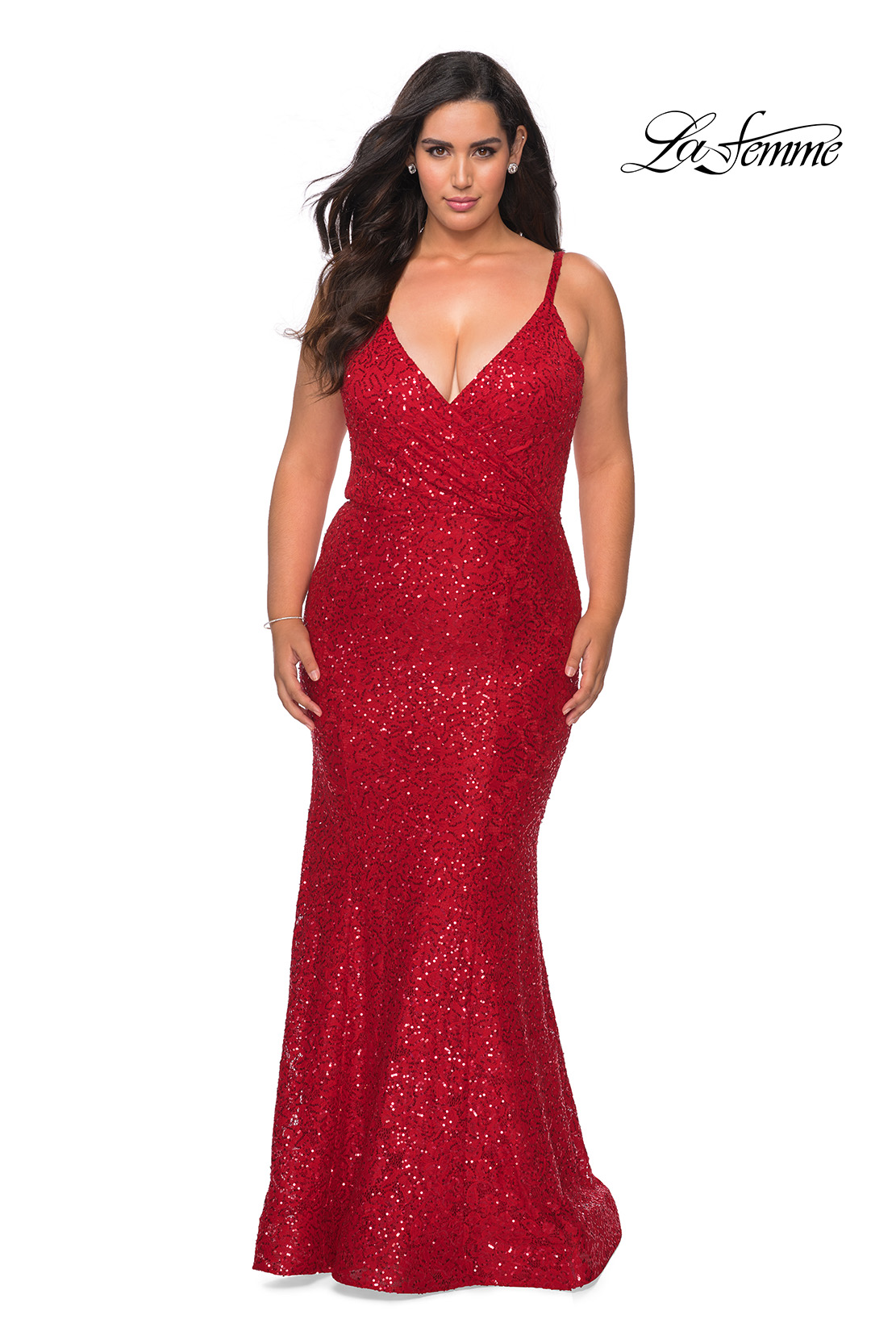 Red Plus Size Dress in Sequin Lace