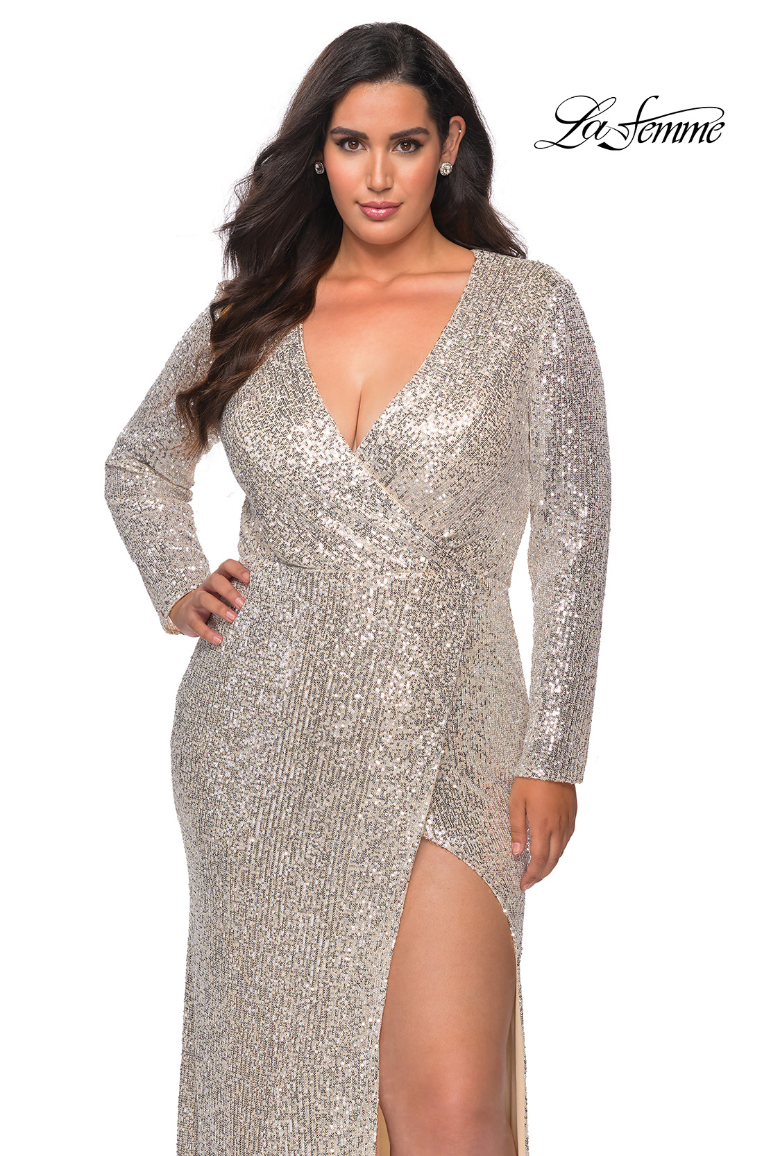 Silver Long Sleeve Plus Size Sequin Dress