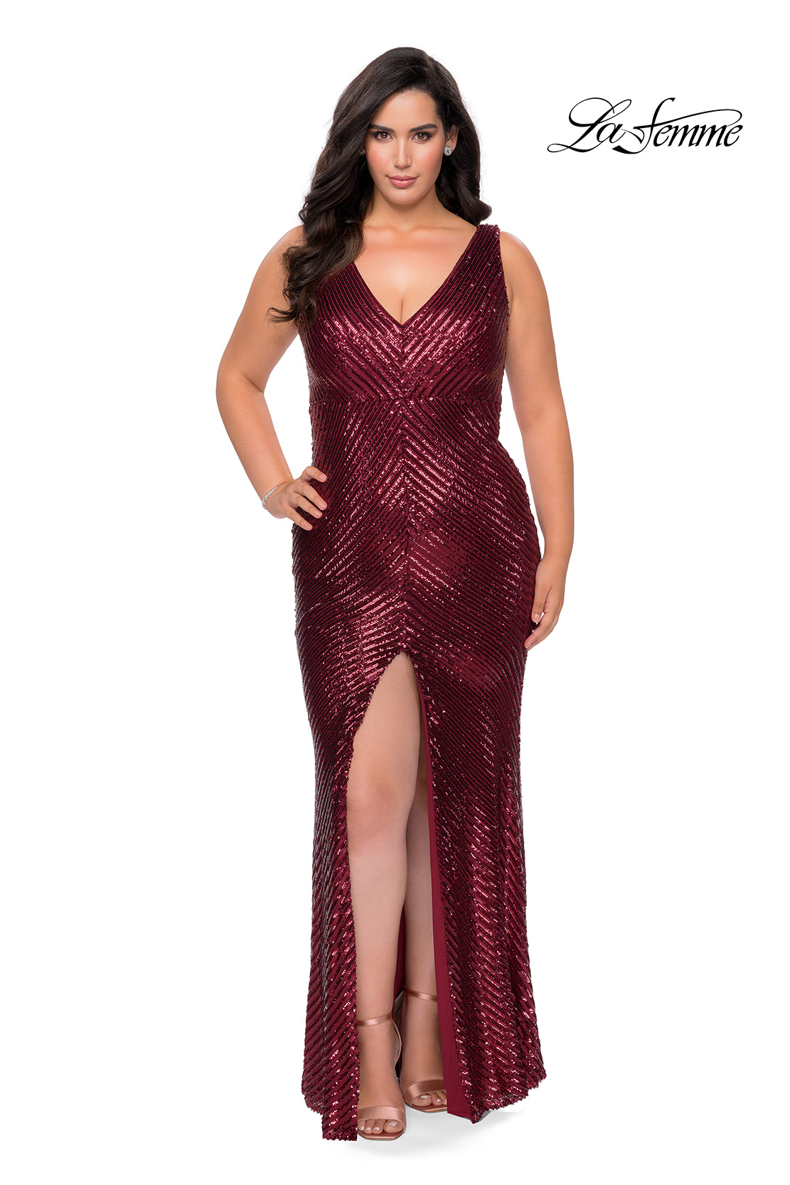 Wine Sequin Plus Size Dress with V Neck