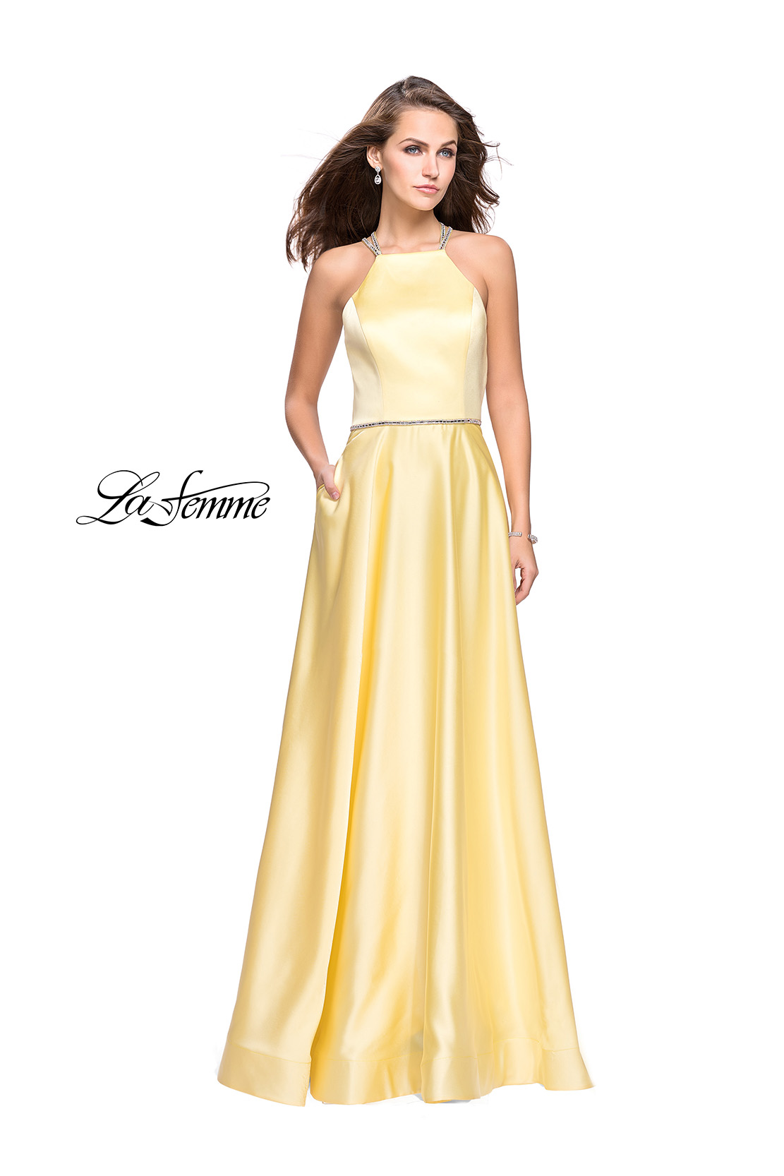 Satin Yellow Prom Dress with Belt by La Femme