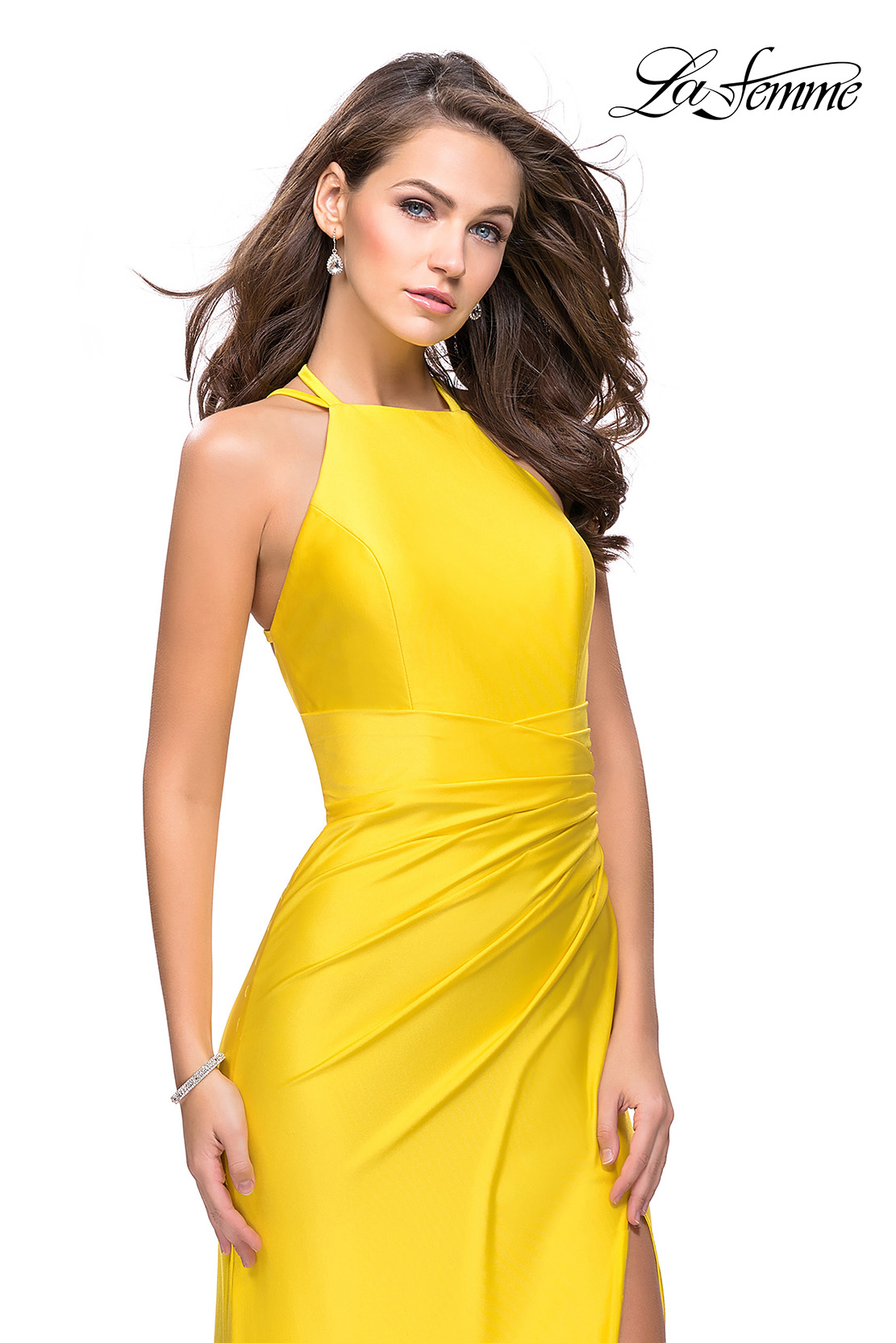 Fitted Jersey Yellow Prom Dress with Ruching by La Femme
