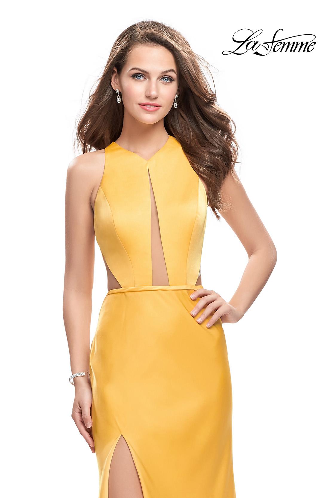 Jersey Yellow Prom Dress with Open Back by La Femme