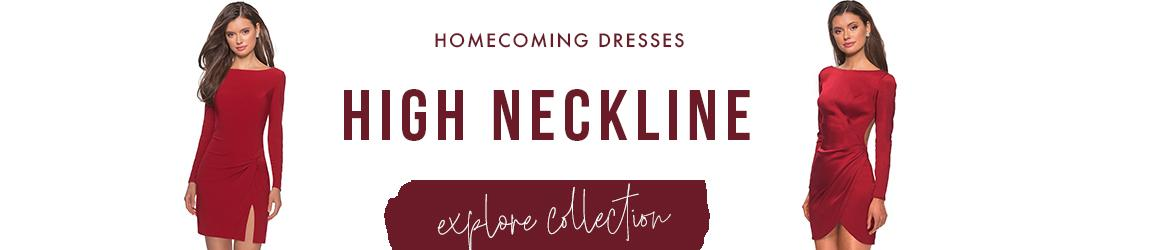 high neckline homecoming dresses