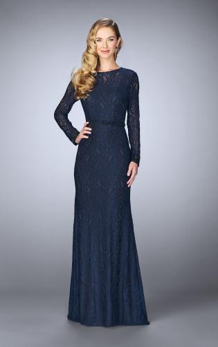 Picture of: Long Sleeve Lace Dress with Beaded Belt and Cuffs, Style: 23115, Detail Picture 4