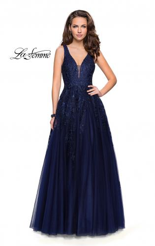 Picture of: A-line Tulle Prom Dress with Floral Lace Applique, Style: 26353, Detail Picture 2