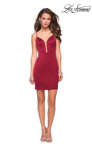 Picture of: Form Fitting Homecoming Dress with Strappy Open Back, Style: 26638, Detail Picture 4