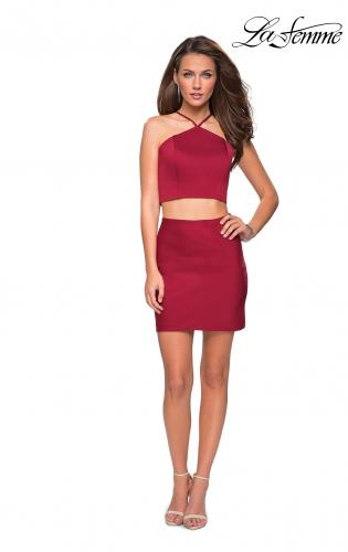 Picture of: Short Two Piece Homecoming Set with Halter Neckline, Style: 26630, Detail Picture 3