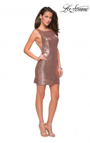 Picture of: Sequin Short Mini Dress with Low Scoop Back, Style: 26614, Detail Picture 3