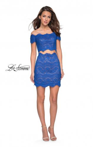 Picture of: Lace Two Piece Dress Set with Off the Shoulder Top, Style: 26666, Detail Picture 2