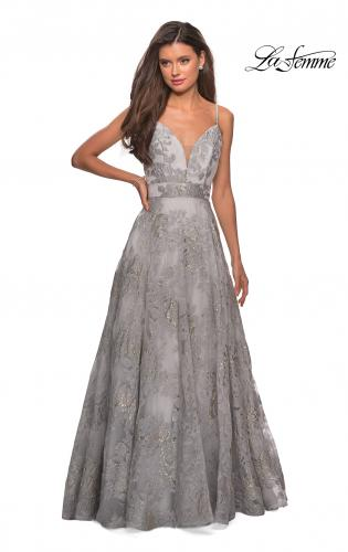 196f648de96 ... Picture of  Empire Waist Prom Dress with Metallic Floral Accents