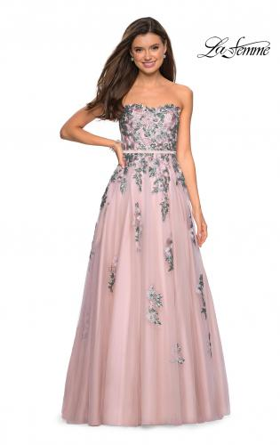 bc77164867c ... Long Prom Dress with Pockets. Picture of  Blush Ball Gown with  Cascading Floral Appliques