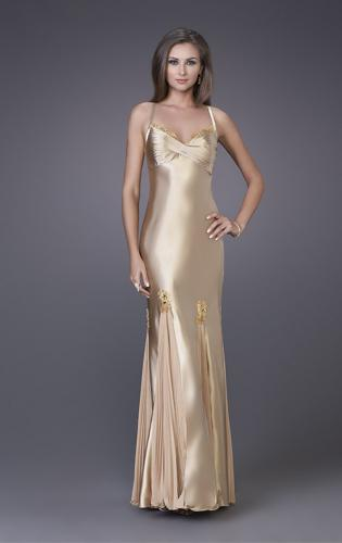 Picture of: Prom Gown with Twisted Bodice and Lace Detailing, Style: 12340, Main Picture