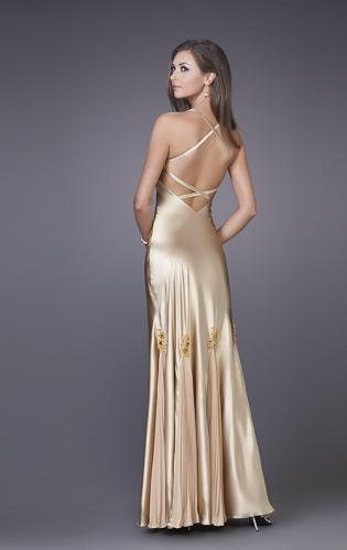 Picture of: Prom Gown with Twisted Bodice and Lace Detailing, Style: 12340, Back Picture