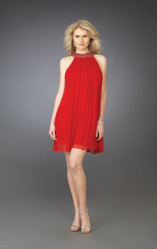 Picture of: Pleated Halter Cocktail Dress with Fully Beaded Straps, Style: 13963, Main Picture