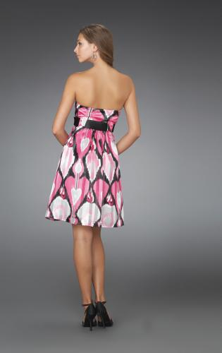 Picture of: Short Strapless Printed Cocktail Dress with Gathered Bodice, Style: 14424, Back Picture